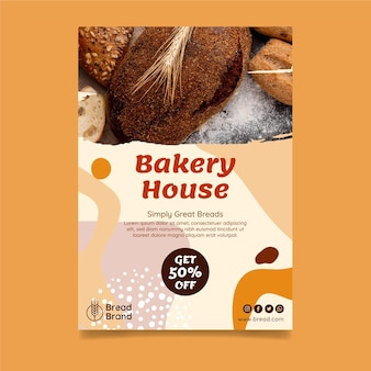 Vertikale flyer-vorlage des bäckereihauses
