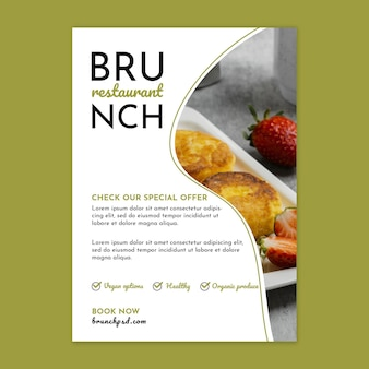 Vertikale flyer-vorlage des brunch-restaurants