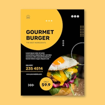 Vertikale flyer-vorlage des burger-restaurants