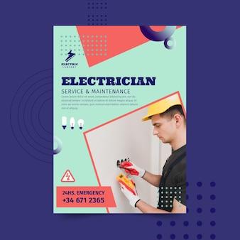 Vertikale flyer-vorlage des elektrikers