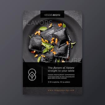 Vertikale flyer-vorlage des gesunden restaurants