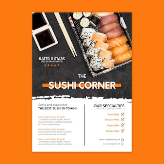 Vertikale flyer-vorlage des japanischen restaurants