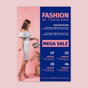Vertikale flyer-vorlage des online-shops
