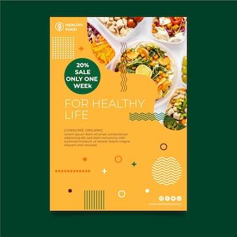 Vertikale flyer-vorlage für bio und gesunde lebensmittel