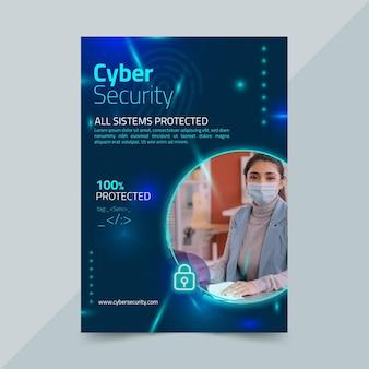 Vertikale flyer-vorlage für cybersicherheit