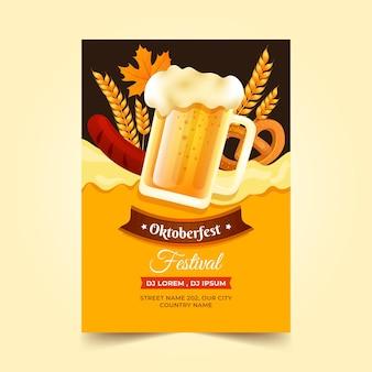 Vertikale flyer-vorlage für das oktoberfest mit farbverlauf