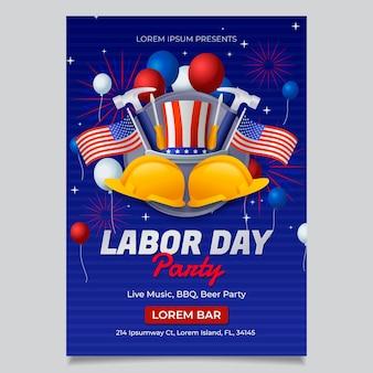 Vertikale flyer-vorlage für den arbeitstag mit farbverlauf