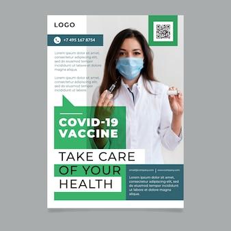 Vertikale flyer-vorlage für die organische flache coronavirus-impfung