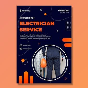 Vertikale flyer-vorlage für elektriker-service