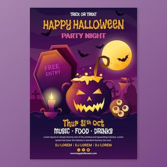 Vertikale flyer-vorlage für halloween mit farbverlauf