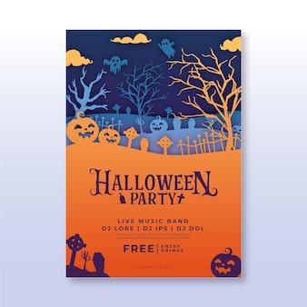 Vertikale flyer-vorlage für halloween-party im papierstil