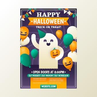 Vertikale flyer-vorlage für halloween-party mit farbverlauf