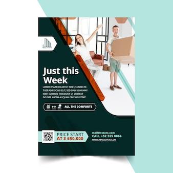 Vertikale flyer-vorlage für immobilien