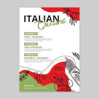 Vertikale flyer vorlage für italienisches essen food