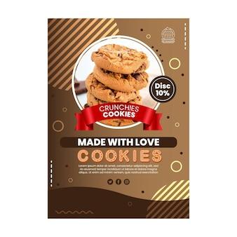 Vertikale flyer-vorlage für köstliche kekse