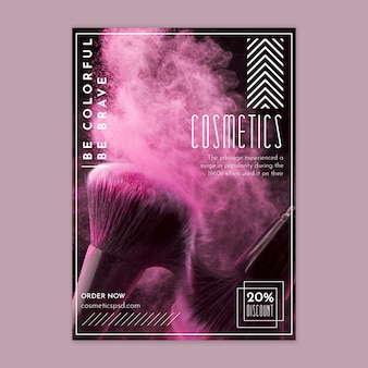 Vertikale flyer-vorlage für kosmetische produkte mit make-up-pinsel