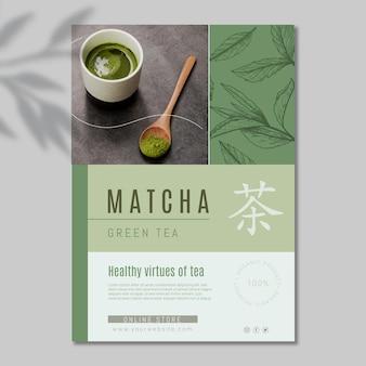 Vertikale flyer-vorlage für matcha-tee