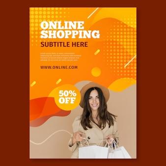 Vertikale flyer-vorlage für online-shopping