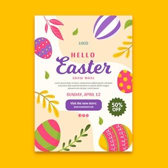 Vertikale flyer-vorlage für osterverkauf mit eiern