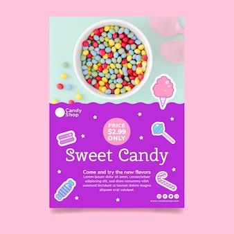 Vertikale flyer-vorlage für süßwarenladen