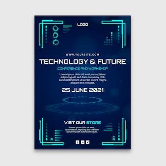Vertikale flyer-vorlage für technologie