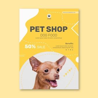 Vertikale flyer-vorlage für tierfutter mit hund