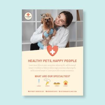 Vertikale flyer-vorlage für veterinärmediziner