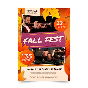 Vertikale flyer-vorlage mit farbverlauf im herbst mit foto