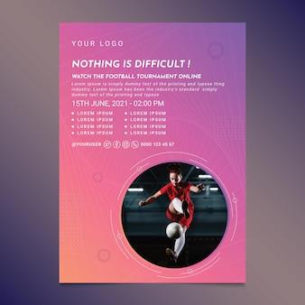 Vertikale flyer-vorlage mit farbverlaufsfußball
