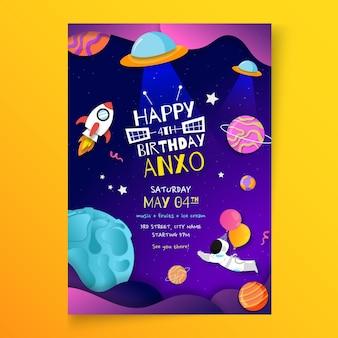 Vertikale flyer-vorlage zum kindergeburtstag
