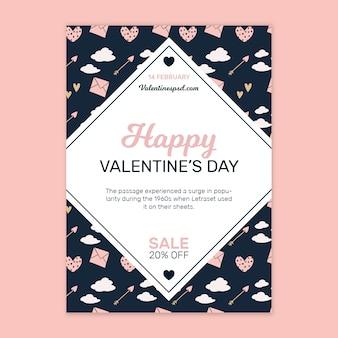 Vertikale flyer-vorlage zum valentinstag