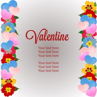 Vertikale grenzschablone des valentinsgrußes mit liebe und blume