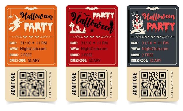Vertikale halloween party poster mit schloss, hexe, fledermaus, zombie und halloween schriftzug. isolierte vektorillustration