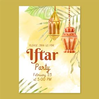 Vertikale iftar-einladungsschablone des aquarells