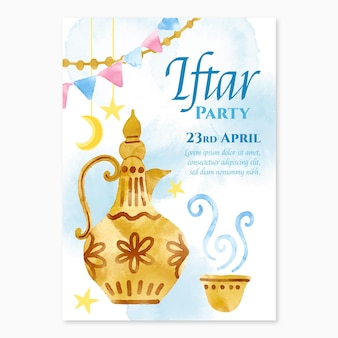 Vertikale iftar-plakatschablone des aquarells