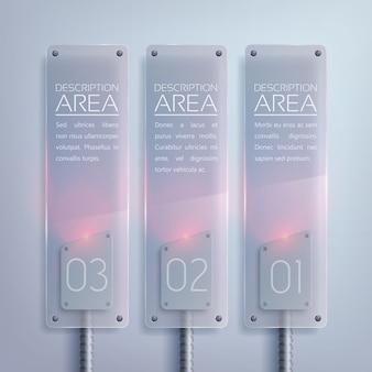 Vertikale infografik des glasgeschäfts mit elektrischem hintergrundbeleuchtungstext und drei optionen