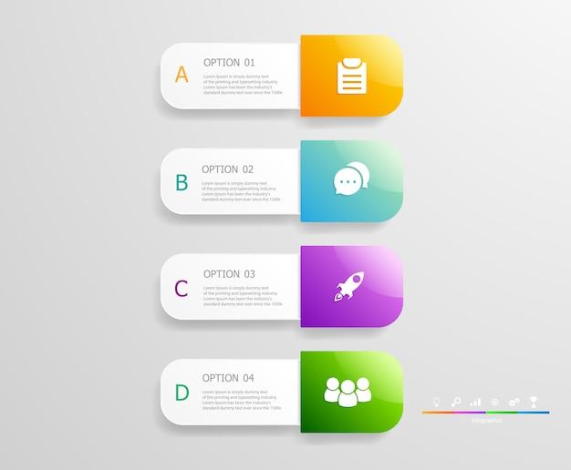 Vertikale infografiken schritte für business-präsentation