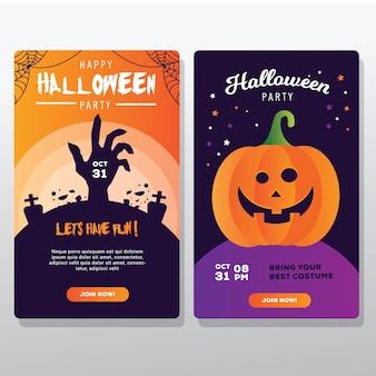 Vertikale karte des halloween-banners für social media-vorlage