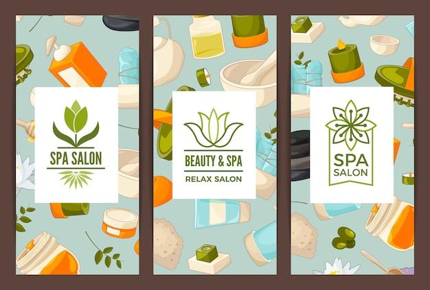 Vertikale karte oder flyer für beauty- und spa-salon oder badeshop