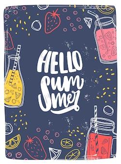 Vertikale karten- oder postkartenvorlage mit hello summer-schriftzug.