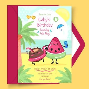 Vertikale kartenvorlage für kindergeburtstag