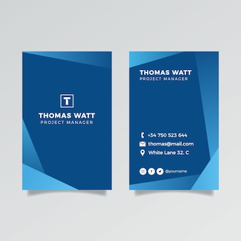 Vertikale klassische blaue firmenkarte