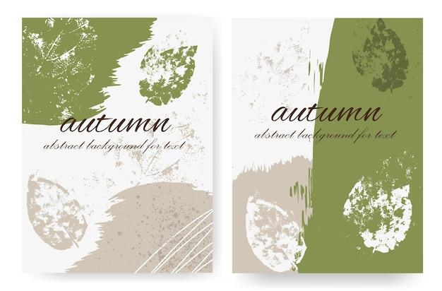 Vertikale layouts mit herbstlichem design im grunge-stil. malen sie striche und herbstblätter mit spritzern und flecken.