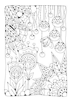 Vertikale malvorlage mit blumen und schmetterling für kinder und erwachsene. schwarzweiss-illustration zum zeichnen.