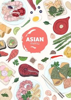 Vertikale menüabdeckungsschablone mit sushi, fisch- und meeresfrüchtegerichten, die auf tellern, stäbchen, sojasauce hand gezeichnet liegen