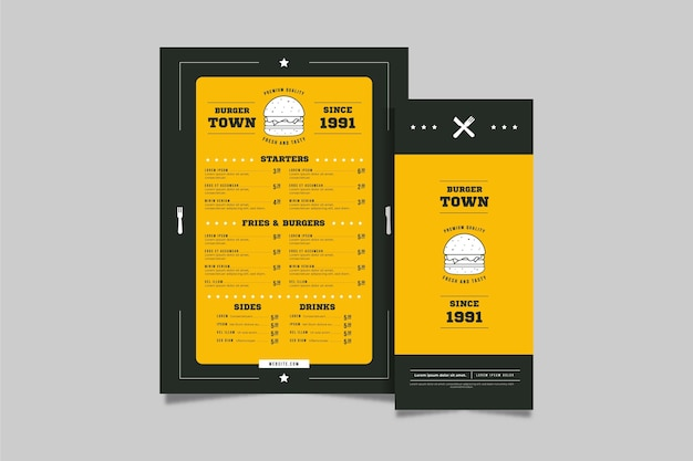 Vertikale menüvorlage des burger-restaurants
