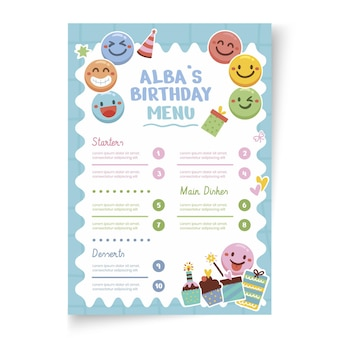 Vertikale menüvorlage zum kindergeburtstag