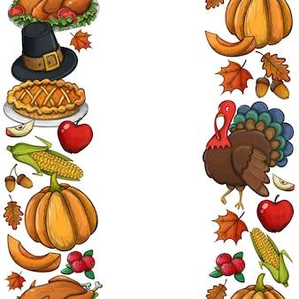 Vertikale nahtlose ränder mit thanksgiving-symbolen