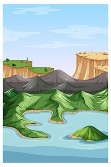 Vertikale naturlandschaftsszene mit draufsicht des berges