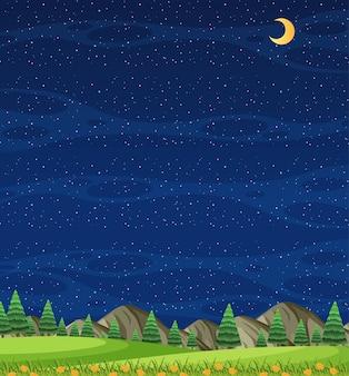Vertikale naturszene oder landschaftslandschaft mit waldblick und leerem himmel bei nacht